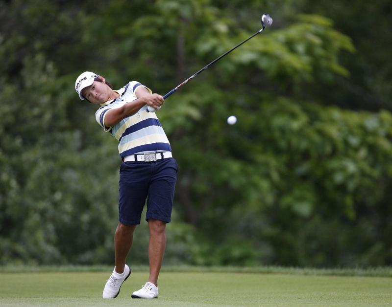 SYLVANIA, OH - JULY 03: Yani Tseng of Taiwan hits her drive on the ninth hole during the second round of the Jamie Farr Owens Corning Classic at Highland Hills Golf Club on July 3, 2009 in Sylvania, Ohio. (Photo by Gregory Shamus/Getty Images)
