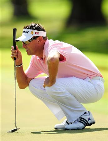 HONOLULU - JANUARY 17:  Robert Allenby of Australia looks over a putt on the 5th hole during the final round of the Sony Open at Waialae Country Club on January 17, 2010 in Honolulu, Hawaii.  (Photo by Sam Greenwood/Getty Images)