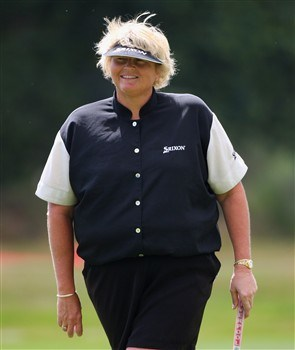 SUNNINGDALE, UNITED KINGDOM - JULY 29:  Laura Davies of England enjoys a joke during the Pro-Am prior to the start of the Ricoh Women's British Open at Sunningdale Golf Club on July 29, 2008 in Sunningdale, England  (Photo by Andrew Redington/Getty Images)