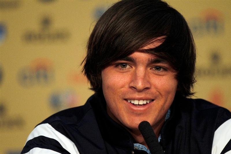 NEWPORT, WALES - SEPTEMBER 29:  Rickie Fowler of the USA speaks to the media before his practice round prior to the 2010 Ryder Cup at the Celtic Manor Resort on September 29, 2010 in Newport, Wales.  (Photo by Sam Greenwood/Getty Images)