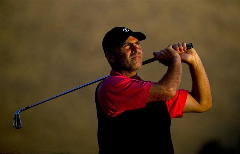 SAN MARTIN, CA - OCTOBER 15:  Rocco Mediate makes a tee shot on the eleventh hole during the second round of the Frys.com Open at the CordeValle Golf Club on October 15, 2010 in San Martin, California.  (Photo by Robert Laberge/Getty Images)