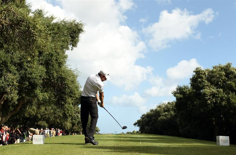 SOTOGRANDE, SPAIN - OCTOBER 31:  Gareth Maybin of Northern Ireland tee's off at the 11th during the final round of the Andalucia Valderrama Masters at Club de Golf Valderrama on October 31, 2010 in Sotogrande, Spain.  (Photo by Richard Heathcote/Getty Images)