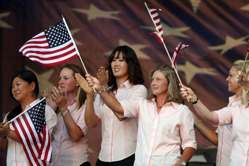 SUGAR GROVE, IL - AUGUST 20:  USA Team members (left to right) Christina Kim, Brittany Laing, Michelle Wie, Angela Stanford during the Opening Ceremony for the 2009 Solheim Cup Matches, at the Rich Harvest Farms Golf Club on August 20, 2009 in Sugar Grove, Ilinois  (Photo by David Cannon/Getty Images)