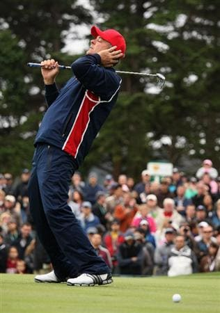SAN FRANCISCO - OCTOBER 11:  Kenny Perry of the USA Team reacts to a missed putt on the 13th green during the Day Four Singles Matches of The Presidents Cup at Harding Park Golf Course on October 11, 2009 in San Francisco, California.  (Photo by Warren Little/Getty Images)