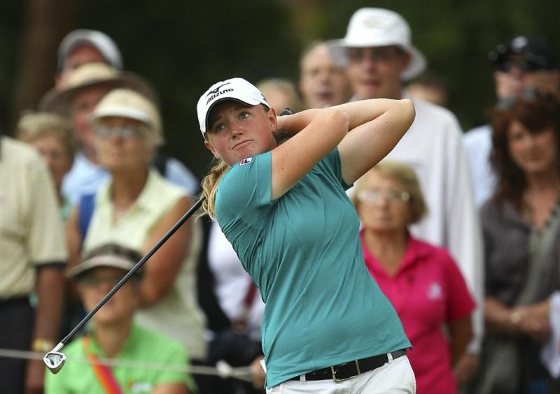 MELBOURNE, AUSTRALIA - FEBRUARY 04:  Stacy Lewis of the USA plays a shot during day two of the Women's Australian Open at The Commonwealth Golf Club on February 4, 2011 in Melbourne, Australia.  (Photo by Lucas Dawson/Getty Images)