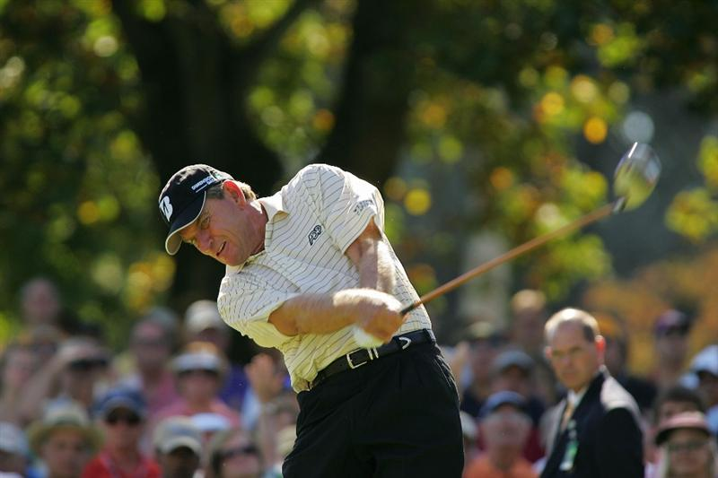 TIMONIUM, MD - OCTOBER 12:  Nick Price hits his drive on the first tee during the final round of the Constellation Energy Senior Players Championship at Baltimore Country Club East Course held on October 12, 2008 in Timonium, Maryland  (Photo by Michael Cohen/Getty Images)