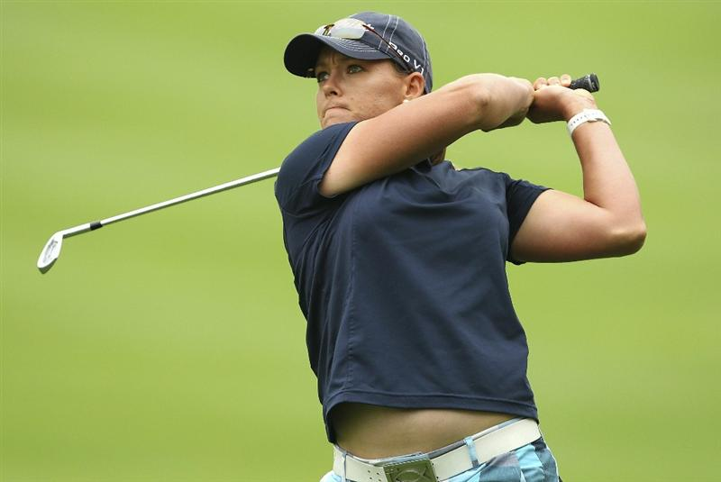 MELBOURNE, AUSTRALIA - FEBRUARY 05:  Katherine Hull of Australia plays a shot during day three of the Women's Australian Open at The Commonwealth Golf Club on February 5, 2011 in Melbourne, Australia.  (Photo by Lucas Dawson/Getty Images)