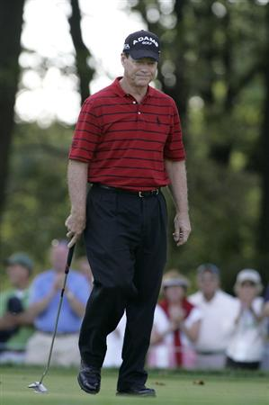 TIMONIUM, MD - OCTOBER 04: Tom Watson reacts to his missed birdie putt on the 11th green during the final round of the Constellation Energy Senior Players Championship at Baltimore Country Club/Five Farms (East Course) held on October 4, 2009 in Timonium, Maryland (Photo by Michael Cohen/Getty Images)