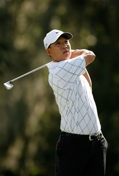 HILTON HEAD, SC - APRIL 19:  Anthony Kim hits his tee shot on the 14th hole during the third round of the Verizon Heritage at Harbour Town Golf Links on April 19, 2008 in Hilton Head, South Carolina.  (Photo by Streeter Lecka/Getty Images)