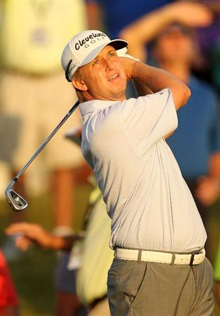 PONTE VEDRA BEACH, FL - MAY 14:  David Toms hits his tee shot on the third hole during the third round of THE PLAYERS Championship held at THE PLAYERS Stadium course at TPC Sawgrass on May 14, 2011 in Ponte Vedra Beach, Florida.  (Photo by Mike Ehrmann/Getty Images)