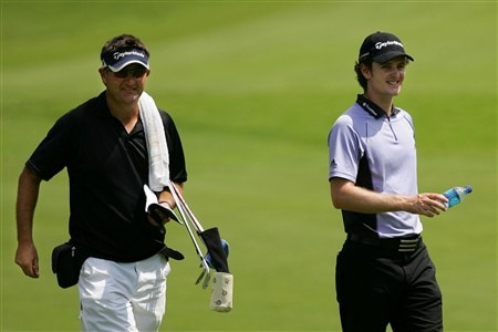 PONTE VEDRA BEACH, FL - MAY 07:  Justin Rose of England with his new caddy Mark Fulcher (L) during practice for the THE PLAYERS Championship on THE PLAYERS Stadium Course at TPC Sawgrass on May 7, 2008 in Ponte Vedra Beach, Florida.  (Photo by Sam Greenwood/Getty Images)