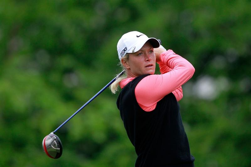 GLADSTONE, NJ - MAY 22:  Suzann Pettersen of Norway hits her tee shot on the tenth hole during her match against Cristie Kerr in the final of the Sybase Match Play Championship at Hamilton Farm Golf Club on May 22, 2011 in Gladstone, New Jersey.  (Photo by Chris Trotman/Getty Images)
