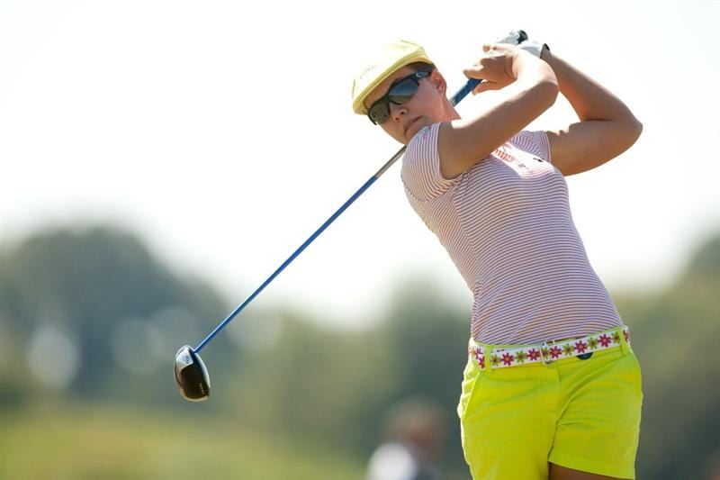 PRATTVILLE, AL - OCTOBER 9: Vicky Hurst follows through on a tee shot during the third round of the Navistar LPGA Classic at the Senator Course at the Robert Trent Jones Golf Trail on October 9, 2010 in Prattville, Alabama. (Photo by Darren Carroll/Getty Images)