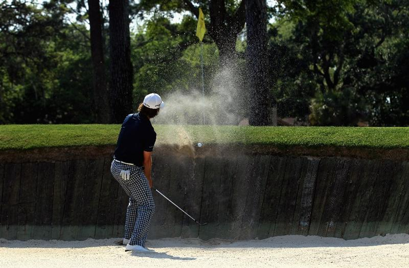 HILTON HEAD ISLAND, SC - APRIL 22:  Aaron Baddeley of Australia hits a shot from the sand on the 13th hole during the second round of The Heritage at Harbour Town Golf Links on April 22, 2011 in Hilton Head Island, South Carolina.  (Photo by Streeter Lecka/Getty Images)