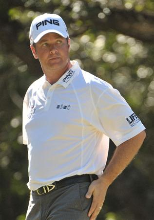 SAN ANTONIO, TX - OCTOBER 9:   Ted Purdy on the 15th tee box during the first round of the Valero Texas Open at La Cantera Golf Club on October 9, 2008 in San Antonio, Texas.  (Photo by Marc Feldman/Getty Images)