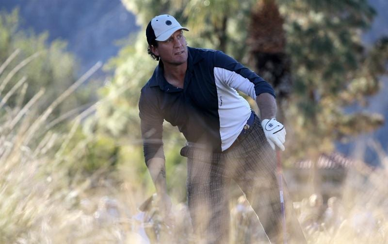 LA QUINTA, CA - JANUARY 23:  Former NHL star Jeremy Roenick watches his tee shot on the ninth hole on the Nicklaus Private course at PGA West during the third round of the Bob Hope Classic on January 23, 2010 in La Quinta, California.  (Photo by Stephen Dunn/Getty Images)