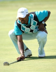 Tim O'Neal putts for a birdie on the 9th hole during the third round of the 2006 Mark Christopher Charity Classic at the Empire Lake Golf Club in Rancho Cucamonga, California on Saturday, October7, 2006 Nationwide Tour - 2006 Mark Christopher Charity Classic - Third Round