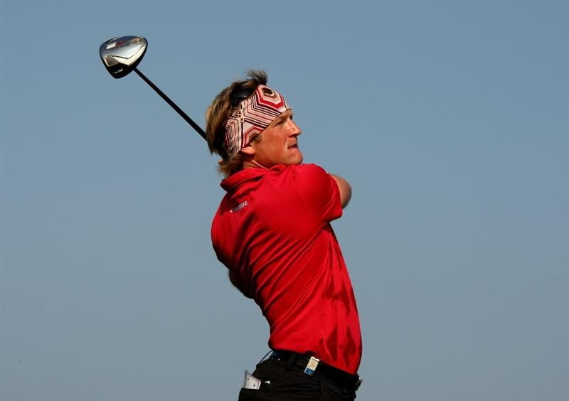 VIENNA, AUSTRIA - SEPTEMBER 19:  Pelle Edberg of Sweden tees off at the 15th during the third round of the Austrian Golf Open at Fontana Golf Club on September 19, 2009 in Vienna, Austria.  (Photo by Richard Heathcote/Getty Images)