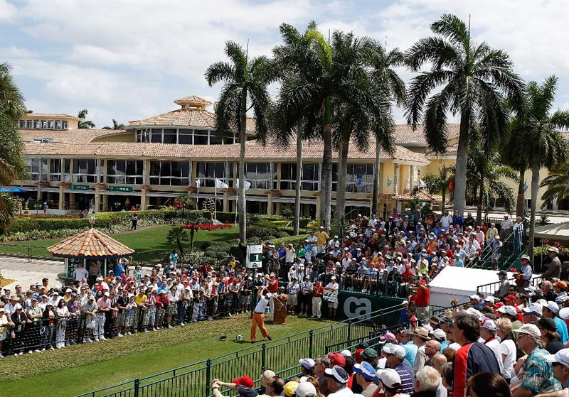 DORAL, FL - MARCH 14: Phil Mickelson tees off on the first tee box during round three of the 2010 WGC-CA Championship at the TPC Blue Monster at Doral on March 14, 2010 in Doral, Florida. (Photo by Scott Halleran/Getty Images)
