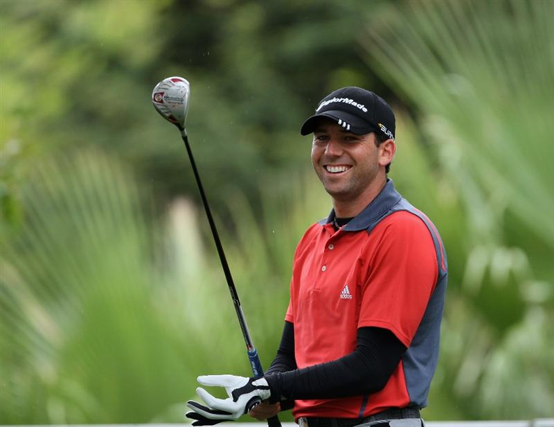 CASTELLO, SPAIN - OCTOBER 24:  Sergio Garcia of Spain looks happy on the first hole during the second round of the Castello Masters Costa Azahar at the Club de Campo del Mediterraneo on October 24, 2008 in Castello, Spain.  (Photo by Stuart Franklin/Getty Images)
