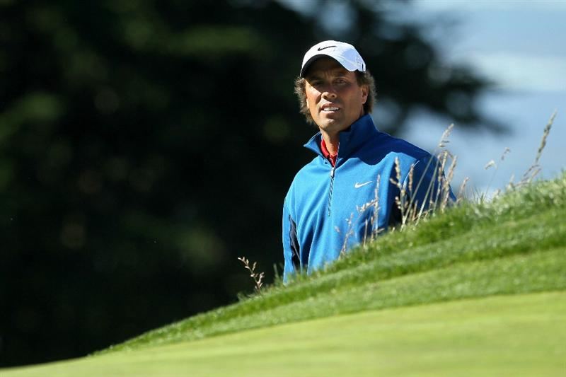 PEBBLE BEACH, CA - JUNE 16:  Stephen Ames of Canada looks on during a practice round prior to the start of the 110th U.S. Open at Pebble Beach Golf Links on June 16, 2010 in Pebble Beach, California.  (Photo by Jeff Gross/Getty Images)
