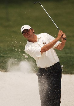 Bo Van Pelt hits from a bunker on the fourth green during the final round of EDS Byron Nelson Championship on Sunday May 15, 2005 at the TPC at Four Seasons Resort, Los Colinas, TexasPhoto by Steve Grayson/WireImage.com