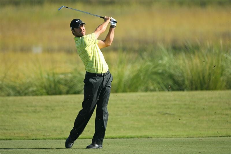 SEA ISLAND, GA - OCTOBER 8: Trevor Immelman of South Africa hits his second shot on the eighth hole during the second round of the McGladrey Classic at Sea Island Resort's Seaside Course on October 8, 2010 in Sea Island, Georgia. (Photo by Hunter Martin/Getty Images)