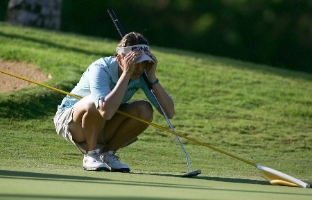KAPOLEI, HI - FEBRUARY 23:  Stacy Prammanasudh lines up her putt on the second hole during the second round of the Fields Open at Ko Olina Golf Club on February 23, 2007 in Kapolei, Hawaii.  Prammanasudh finished her round at 10 under par.  (Photo by Harry How/Getty Images)