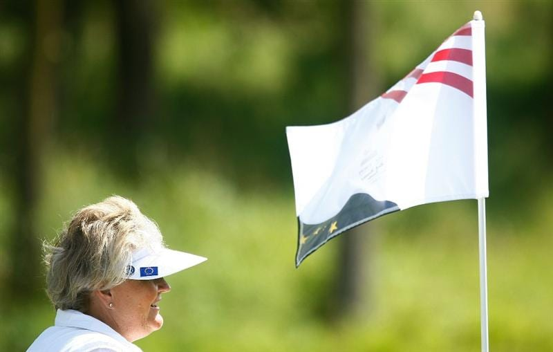 SUGAR GROVE, IL - AUGUST 19:  Laura Davies of the European Team walks across a green during a practice round prior to the start of the 2009 Solheim Cup at Rich Harvest Farms on August 19, 2009 in Sugar Grove, Illinois.  (Photo by Scott Halleran/Getty Images)