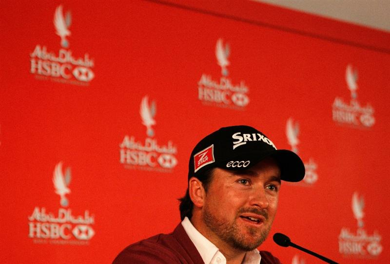 ABU DHABI, UNITED ARAB EMIRATES - JANUARY 18:  Graeme McDowell of Northern Ireland speaks with the media prior to the start of the 2011 Abu Dhabi HSBC Golf Championship  at the Abu Dhabi Golf Club on January 18, 2011 in Abu Dhabi, United Arab Emirates.  (Photo by Scott Halleran/Getty Images)