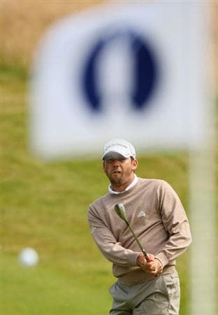 TURNBERRY, SCOTLAND - JULY 14:  Sergio Garcia of Spain hits a shot during a practice round prior to the 138th Open Championship on the Ailsa Course, Turnberry Golf Club on July 14, 2009 in Turnberry, Scotland.  (Photo by Warren Little/Getty Images)