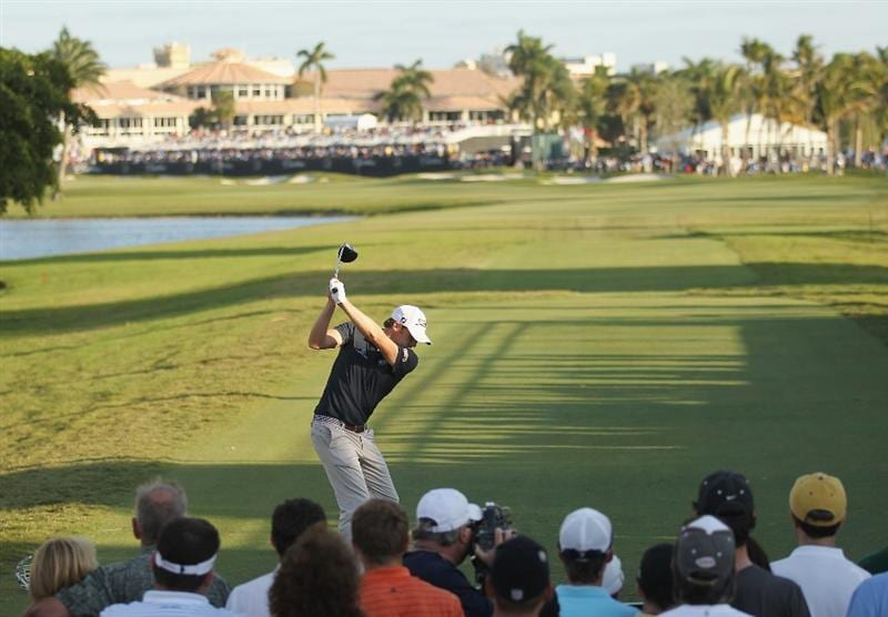 DORAL, FL - MARCH 13:  Nick Watney hits his tee shot on the 18th hole during the final round of the 2011 WGC- Cadillac Championship at the TPC Blue Monster at the Doral Golf Resort and Spa on March 13, 2011 in Doral, Florida.  (Photo by Mike Ehrmann/Getty Images)