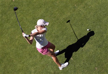 EVIAN, FRANCE - JULY 24:  Sophie Giquel of France hits her tee shot on the 6th hole during the first round of the Evian Masters on July 24 , 2008 at the Evian Masters Golf Club in Evian, France  (Photo by Andy Lyons/Getty Images)