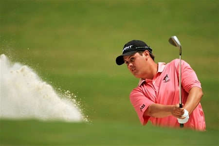 PONTE VEDRA BEACH, FL - MAY 11:  Jeff Quinney plays a shot from the bunker on the 3rd hole during the final round of THE PLAYERS Championship on THE PLAYERS Stadium Course at TPC Sawgrass on May 11, 2008 in Ponte Vedra Beach, Florida.  (Photo by Richard Heathcote/Getty Images)