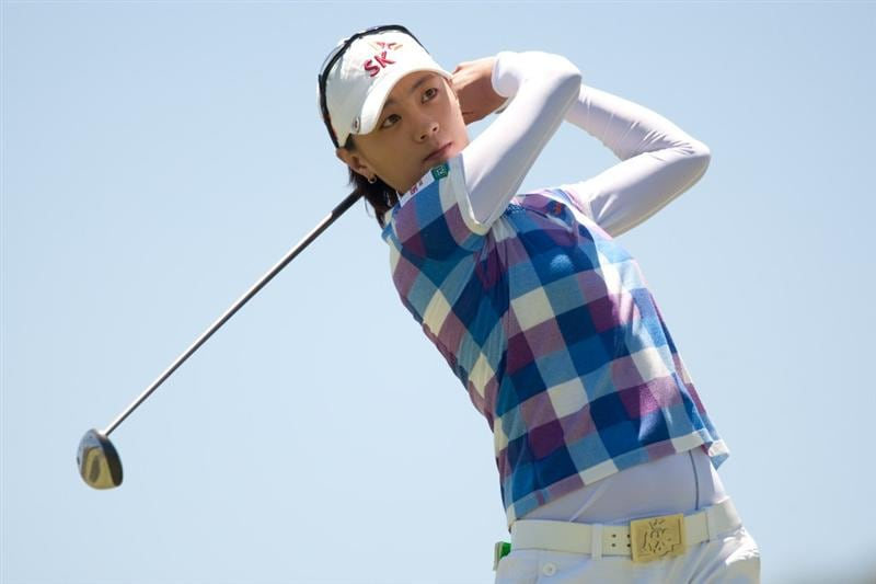 MORELIA, MEXICO - MAY 2: Na Yeon Choi of South Korea follows through on a tee shot during the fourth round of the Tres Marias Championship at the Tres Marias Country Club on May 2, 2010 in Morelia, Mexico. (Photo by Darren Carroll/Getty Images)