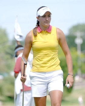 Brittany Lang leaves the 10th green during the third round of the 2005 Jamie Farr Owens Corning Classic at the Highland Meadows Golf Club in Sylvania, Ohio on July 9, 2005.Photo by Al Messerschmidt/WireImage.com