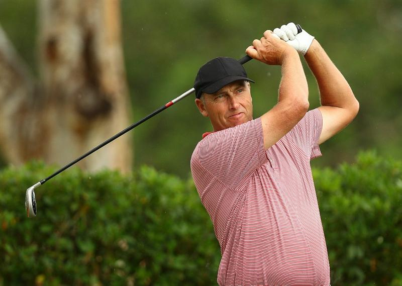PERTH, AUSTRALIA - NOVEMBER 21:  Michael Harwood of Australia tees off on the 11th hole during day three of the 2010 Australian Senior Open at Royal Perth Golf Club on November 21, 2010 in Perth, Australia.  (Photo by Paul Kane/Getty Images)