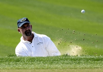 Marco Dawson blasts out of the greensode bunker on the 16th hole during the final round of the 2006 Chrysler Classic of Tucson on Sunday , February 26, 2006 at the Omni Tucson National Golf Resort and Spa in Tucson, ArizonaPhoto by Marc Feldman/WireImage.com