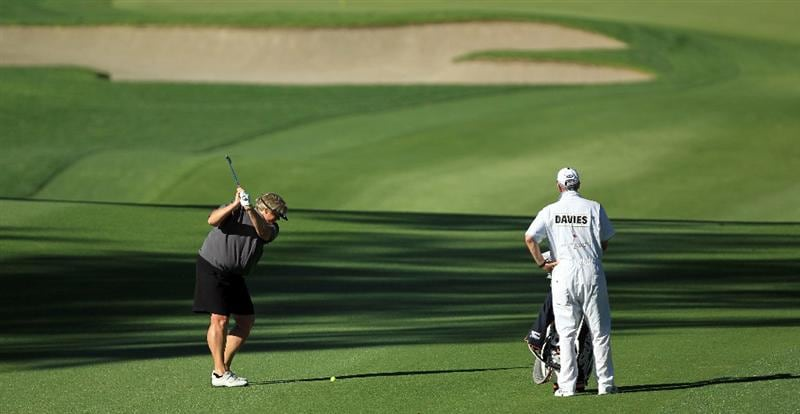 RANCHO MIRAGE, CA - MARCH 31:  Laura Davies of England plays her second shot at the par 4, 3rd hole during the first round of the 2011 Kraft Nabisco Championship on the Dinah Shore Championship Course at the Mission Hills Country Club on March 31, 2011 in Rancho Mirage, California.  (Photo by David Cannon/Getty Images)
