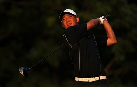 OAKVILLE, ON - JULY 26:  Anthony Kim makes a tee shot on the 14th hole during the third round of the RBC Canadian Open at the Glen Abbey Golf Club on July 26, 2008 in Oakville, Ontario, Canada.  (Photo by Robert Laberge/Getty Images)