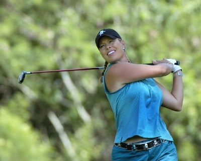 Michelle McGann tees off on the 18th  hole in the first round  at the 2006 SBS Open at Turtle Bay in Kahuku, Hawaii on February 16, 2006Photo by Al Messerschmidt/WireImage.com