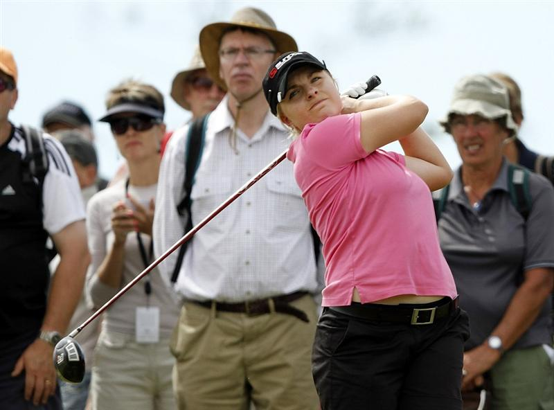 PEGASUS, NEW ZEALAND - FEBRUARY 28:  Sarah Kemp of Australia tees off during the final round of the New Zealand Women's Open at Pegasus Golf Course on February 28, 2010 in Pegasus, New Zealand.  (Photo by Martin Hunter/Getty Images)