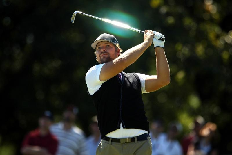 LEMONT, IL - SEPTEMBER 12:  Ryan Moore tees off on the second hole during the final round of the BMW Championship at Cog Hill Golf & Country Club on September 12, 2010 in Lemont, Illinois.  (Photo by Scott Halleran/Getty Images)