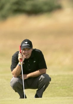 France's Thomas Levet lines up a putt during the second round of the 2005 British Open Golf Championship at the Royal and Ancient Golf Club in St. Andrews, Scotland on July 15, 2005.Photo by Pete Fontaine/WireImage.com
