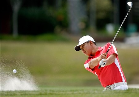 HILTON HEAD, SC - APRIL 20:  Anthony Kim hits a shot from the sand on the 5th hole during the final round of the Verizon Heritage at Harbour Town Golf Links on April 20, 2008 in Hilton Head, South Carolina.  (Photo by Streeter Lecka/Getty Images)