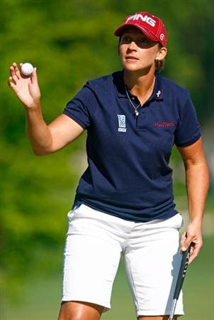 BETHLEHEM, PA - JULY 09:  Angela Stanford waves to the gallery on the second green during the first round of the 2009 U.S. Women's Open at the Saucon Valley Country Club on July 9, 2009 in Bethlehem, Pennsylvania.  (Photo by Scott Halleran/Getty Images)