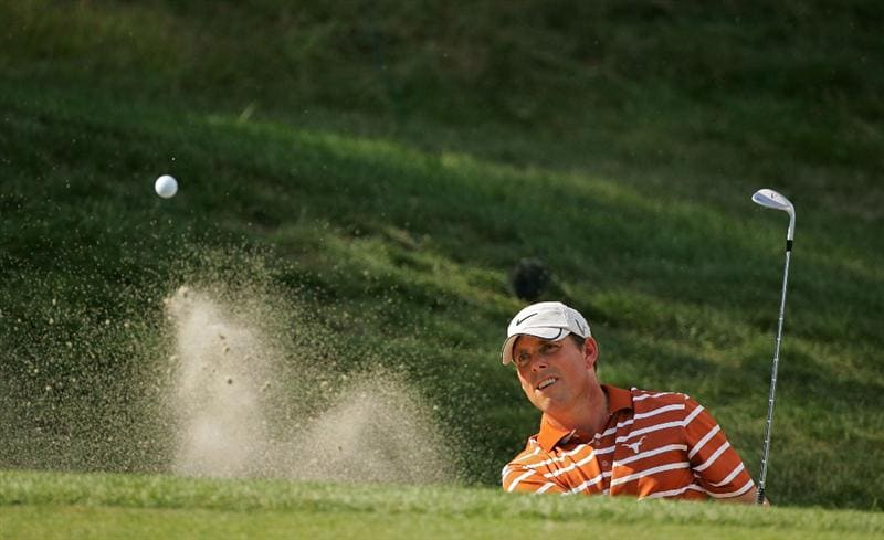 NORTON, MA - SEPTEMBER 05:  Justin Leonard of the United States sports a University of Texas shirt during the second round of the Deutsche Bank Championship at TPC Boston held on September 5, 2009 in Norton, Massachusetts.  (Photo by Michael Cohen/Getty Images)