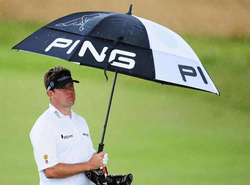 TURNBERRY, SCOTLAND - JULY 14:  Lee Westwood of England holds his umbrella as the rain falls during a practice round prior to the 138th Open Championship on the Ailsa Course, Turnberry Golf Club on July 14, 2009 in Turnberry, Scotland.  (Photo by Stuart Franklin/Getty Images)