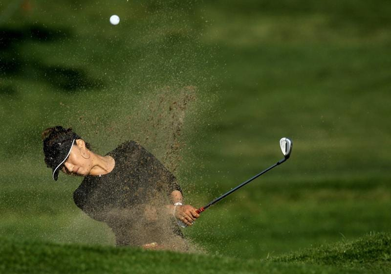 CARLSBAD, CA - MARCH 25: Grace park of South Korea hits out of a bunker on the 18th hole during the first round of the Kia Classic Presented by J Golf at La Costa Resort and Spa on March 25, 2010 in Carlsbad, California. (Photo by Stephen Dunn/Getty Images)