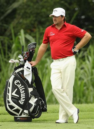 SINGAPORE - NOVEMBER 12:  Graeme McDowell of Northern Ireland looks on during the Second Round of the Barclays Singapore Open at Sentosa Golf Club on November 12, 2010 in Singapore, Singapore.  (Photo by Ian Walton/Getty Images)